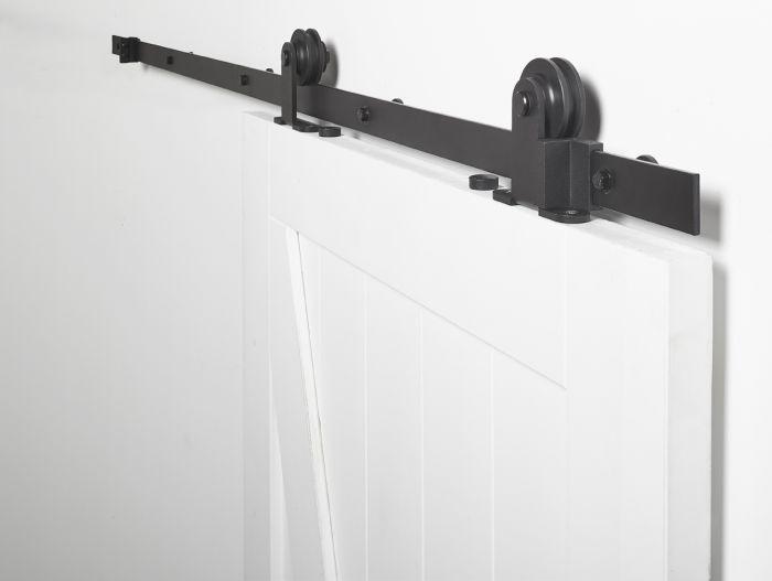 Binnen Schuifdeur Systeem.Schuifdeursysteem Foxtrot Mat Zwart 2 Meter Skantrae Deuren